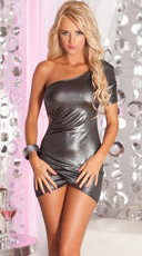 Ruched Silver Mini Dress