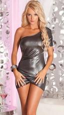 Ruched Silver Mini Dress
