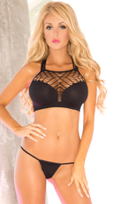 Net Strappy Bra Set