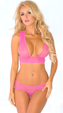 Pink Fishnet Bra and Panty Set