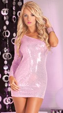 Asymmetrical Sequin Mini Dress