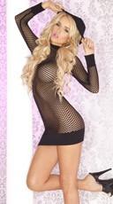 Seamless Fishnet Hoodie Dress