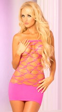 Pink Web Paneled Sheer Tube Dress