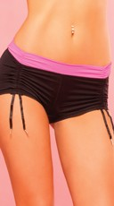 Sexy Black And Pink Cinchable Hot Short