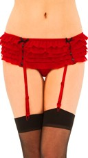 Ruffled Garter Belt And Thong Set