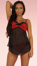 Black Mesh and Red Lace Babydoll