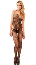 Open Hip Lace And Fishnet Bodystocking