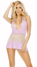 Lace And Mesh Halter Babydoll With G String