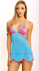 Blue Mesh Babydoll with Matching Panty