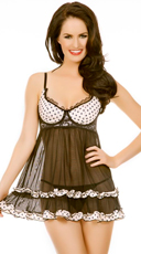 Black Babydoll With Polka Dot Details And G-String