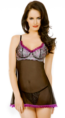 Purple and Black Mesh Babydoll with Panty
