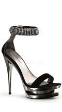 6 Inch Stiletto Heel, 1 1/2 Inch Dual Pf Double Strap Sandal