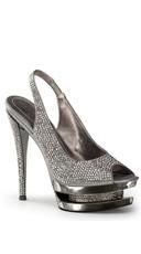 6 Inch Stiletto Heel, 1 1/2 Inch Dual Pf Peep Toe Slingback Sandal