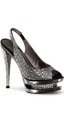 6 Inch Stiletto Heel, 1 1/2 Inch Dual Pf Slingback Sandal