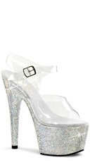 "Rhinestone Studded Platforms with Ankle Strap and 7"" Heel"