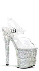 "Rhinestone Studded Platforms with Ankle Strap and 8"" Heel"