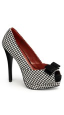 Patterned Peep Toe Pump with Bow Accent