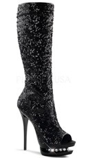"Sequin Peep Toe Boot with 6"" Heel"
