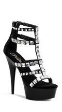 6 Inch Heel, 1 3/4 Inch Pf Jeweled T-strap Sandal, Back Zip