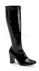 "3 1/4"" Heel, Chunky Blk Str Pat Gogo Boot"