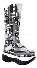 Mens 3 Inch Platform UV Reactive Circuit Board Cyber Goth Boot With Zipper