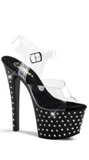 7 Inch Heel, 2 3/4 Inch R/s Studded Pf Ankle Strap Sandal
