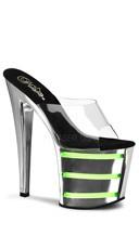 7 1/2 Inch Heel, 3 1/2 Inch Platform Slide With UV Tubes
