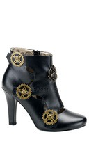 4 Inch Hidden P/f Steampunk Ankle Bootie W/ Steam Bee & Gears