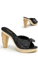 4 Inch Heel, 3/4 Inch P/f Slide W/ Carved Tiki Heel & Bow Detail
