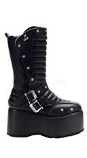 Mens 3 1/2 Inch Platform Goth Punk Calf Boot With 4 Stud & Zipper Straps