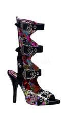 4 1/2 Inch 4 Buckle Sandal With Creepy Eyeballs Print