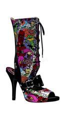 4 1/2 Inch Platform Punk Peep Toe Boot Shaft With Creepy Eyeballs Print