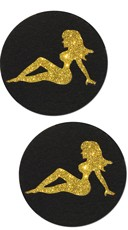 Black and Glitter Gold Trucker Girl Pasties
