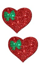Red Glitter Heart with Green Bow Pastease