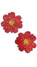 Red Glitter Poinsettia Flower Pasties