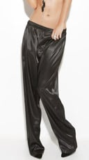 Plus Size Black Satin Sleepwear Pants