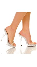 Peep Toe 5 Inch Clear Mule with Rhinestones