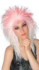 Hot Pink and White Fiber Optic Wig