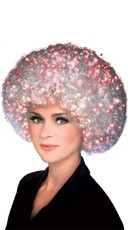 White Fiber Optic Afro