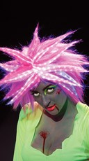 Flashy Pink Fiber Optic Wig
