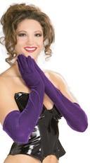 Long Purple Velvet Gloves