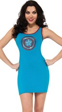 Bulls-Eye Captain America Rhinestone Tank Dress