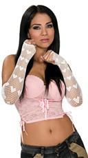 White Fingerless Net Heart Gloves