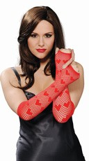 Red Fingerless Net Heart Gloves