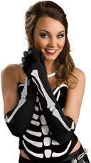 Long Black Skeleton Gloves