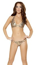 Metallic Animal Print Full Back O-Ring Bikini