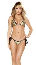 Lustful Metallic Leopard Print Swimwear