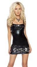 Two-Tone Sequin and Metallic Mini Dress
