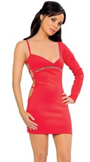 Single Sleeve Dress with Zip Midriff