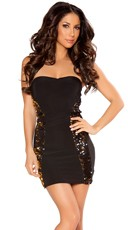 Strapless Party Dress with Double Sequin Panels